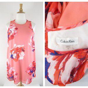 Calvin Klein Plus Size Pink Floral Shift Dress 14